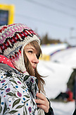 USA, California, Mammoth, a young bystander watches the skiers and boarders compete at Mammoth Ski Resort