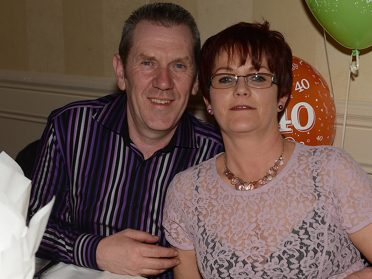 Sean and Collette Wall pictured at Alan Kearns' 40th birthday in the Westcourt hotel. Photo:Colin Bell/pressphotos.ie