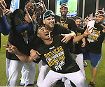 Royals team group,<br /> OCTOBER 5, 2014 - MLB :<br /> Norichika Aoki (front) of the Kansas City Royals celebrates with his teammates after winning the American League Division Series (ALDS) Game 3 against the Los Angeles Angels at Kauffman Stadium in Kansas City, Missouri, United States. (Photo by AFLO)