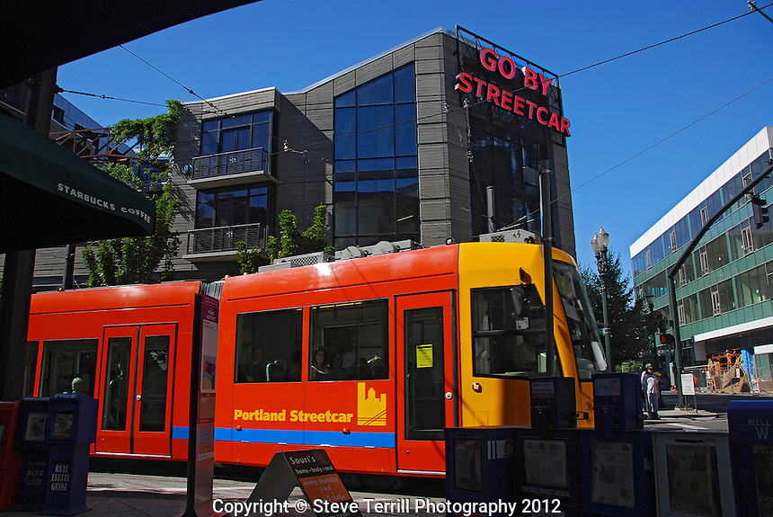 USA, Oregon, Portland Streetcar in the Pearl District of NW Portland