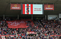A banner for young cancer sufferer Bradley Lowery on one of the stands during to the Premier League match between Sunderland and Swansea City at the Stadium of Light, Sunderland, England, UK. Saturday 13 May 2017
