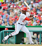 12 April 2012: Washington Nationals outfielder Roger Bernadina in action against the Cincinnati Reds at Nationals Park in Washington, DC. The Nationals defeated the Reds 3-2 in 10 innings to take the first game of their 4-game series. Mandatory Credit: Ed Wolfstein Photo