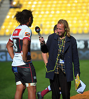Adam Julian interviews Chris Vui after the Mitre 10 Cup rugby union semifinal match between Wellington Lions and North Harbour at Westpac Stadium, Wellington, New Zealand on Saturday, 22 October 2016. Photo: Dave Lintott / lintottphoto.co.nz