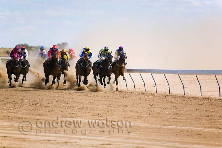 Horse racing in the outback at the Birdsville Cup Races.  Every September the small town of Birdsville hosts thousands of racing enthusiasts for one of Australia's most famous bush racing carnivals.  Birdsville, Queensland, AUSTRALIA.