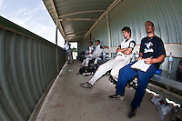22 May 2009: Players of Team Montpellier are seen in the dugout during the 2009 challenge de France, a tournament with the best French baseball teams - all eight elite league clubs - to determine a spot in the European Cup next year, at Montpellier, France. Senart wins 7-1 over Montpellier.