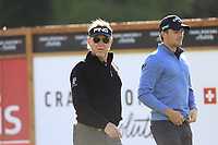 Miguel Angel Jimenez (ESP) and Haydn Porteous (RSA) walk off the 14th tee during Thursday's Round 1 of the 2017 Omega European Masters held at Golf Club Crans-Sur-Sierre, Crans Montana, Switzerland. 7th September 2017.<br /> Picture: Eoin Clarke | Golffile<br /> <br /> <br /> All photos usage must carry mandatory copyright credit (&copy; Golffile | Eoin Clarke)