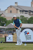 Aaron Baddeley (AUS) watches his tee shot on 11 during Round 2 of the Valero Texas Open, AT&T Oaks Course, TPC San Antonio, San Antonio, Texas, USA. 4/20/2018.<br /> Picture: Golffile | Ken Murray<br /> <br /> <br /> All photo usage must carry mandatory copyright credit (© Golffile | Ken Murray)