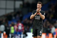 3rd November 2019; Selhurst Park, London, England; English Premier League Football, Crystal Palace versus Leicester City; Jonny Evans of Leicester City celebrates the 0-2 win - Strictly Editorial Use Only. No use with unauthorized audio, video, data, fixture lists, club/league logos or 'live' services. Online in-match use limited to 120 images, no video emulation. No use in betting, games or single club/league/player publications