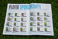 Match day programme signed by Wycombe Wanderers players during the Sky Bet League 2 match between Wycombe Wanderers and Hartlepool United at Adams Park, High Wycombe, England on 5 September 2015. Photo by Andy Rowland.