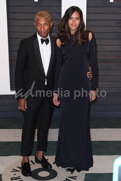 28 February 2016 - Beverly Hills, California - Pharrell Williams, Helen Lasichanh . 2016 Vanity Fair Oscar Party hosted by Graydon Carter following the 88th Academy Awards held at the Wallis Annenberg Center for the Performing Arts. Photo Credit: AdMedia