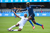 February 2nd 2019, San Jose, California, USA; USA forward Gyasi Zardes (9) is tackled by Costa Rica defender Pablo Arboine (3) during the international friendly match between USA and Costa Rica at Avaya Stadium on February 2, 2019 in San Jose CA.