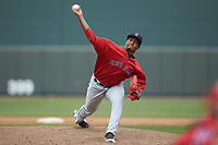 Salem Red Sox relief pitcher Algenis Martinez (45) delivers a pitch to the plate against the Winston-Salem Dash at BB&T Ballpark on April 22, 2018 in Winston-Salem, North Carolina.  The Red Sox defeated the Dash 6-4 in 10 innings.  (Brian Westerholt/Four Seam Images)