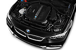 Car stock 2018 BMW 4 Series Luxury 4 Door Coupe engine high angle detail view