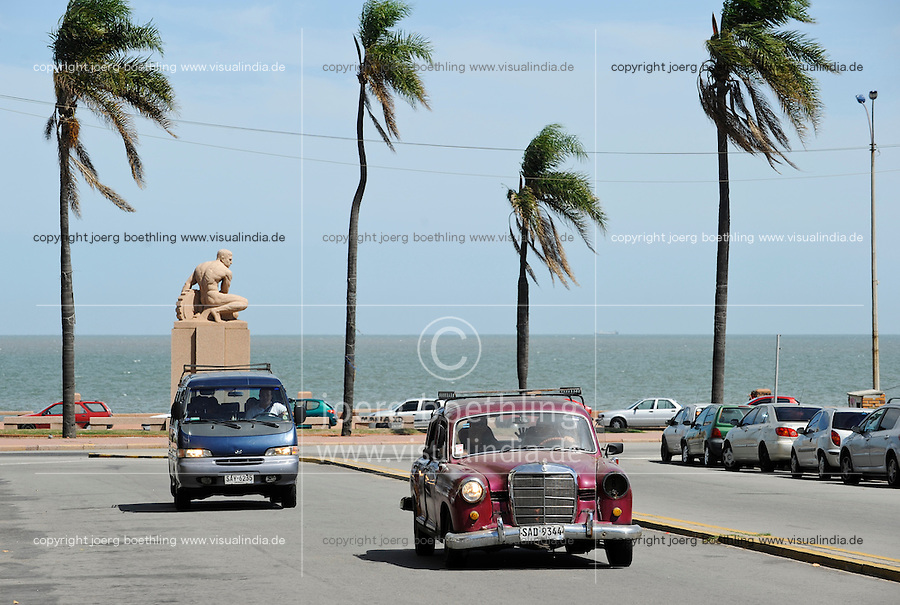 URUGUAY Montevideo, old Mercedes Benz at sea promenade