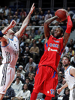 Real Madrid's Rudy Fernandez (l) and CSKA Moscow's Sonny Weems during Euroleague 2012/2013 match.January 31,2013. (ALTERPHOTOS/Acero)