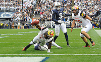 01 November 2014:  Maryland WR/KR Stefon Diggs (1) stretches the ball out to the one yard line to set up a touchdown. The Maryland Terrapins defeated the Penn State Nittany Lions 20-19 at Beaver Stadium in State College, PA.