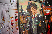 NEW YORK, USA - October 3: A Harry Potter artwork made of Jellybeans its seen during day one of New York Comic Con at the Jacob K. Javits Convention Center on Oct. 3, 2019 in New York.<br /> The 2019 New York Comic-Con at the Jacob K. Javits Convention Center Day 1 with the latest in superhero movies, sci-fi shows, animation, video games, comic book releases available to attendees.<br /> (Photo by Luis Boza/VIEWpress/Corbis via Getty Images)