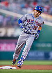 28 April 2017: New York Mets catcher Travis d'Arnaud rounds third after hitting a 2-run homer in the 2nd inning against the Washington Nationals at Nationals Park in Washington, DC. The Mets defeated the Nationals 7-5 to take the first game of their 3-game weekend series. Mandatory Credit: Ed Wolfstein Photo *** RAW (NEF) Image File Available ***