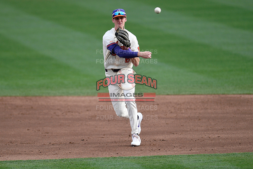 Shortstop Logan Davidson (8) of the Clemson Tigers in a game against the Charlotte 49ers on Monday, February 18, 2019, at Doug Kingsmore Stadium in Clemson, South Carolina. Clemson won, 7-6. (Tom Priddy/Four Seam Images)