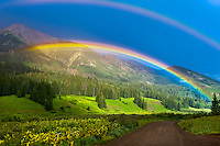 Double Rainbow, Washington Gulch trailhead, near the town of Gothic, near Crested Butte, Colorado USA