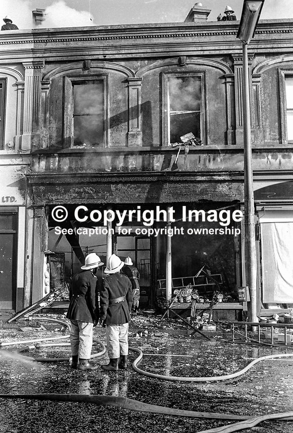 Scene of one of the several Provisional IRA explosions in Ballymena, Co Antrim, N Ireland. A woman shopper, Yvonne Dunlop, was killed in one of the explosions. 197610090438b, 438/76..Copyright Image from Victor Patterson, 54 Dorchester Park, Belfast, UK, BT9 6RJ..Tel: +44 28 9066 1296.Mob: +44 7802 353836.Voicemail +44 20 8816 7153.Skype: victorpattersonbelfast.Email: victorpatterson@me.com.Email: victorpatterson@ireland.com (back-up)..IMPORTANT: If you wish to use this image or any other of my images please go to www.victorpatterson.com and click on the Terms & Conditions. Then contact me by email or phone with the reference number(s) of the image(s) concerned.