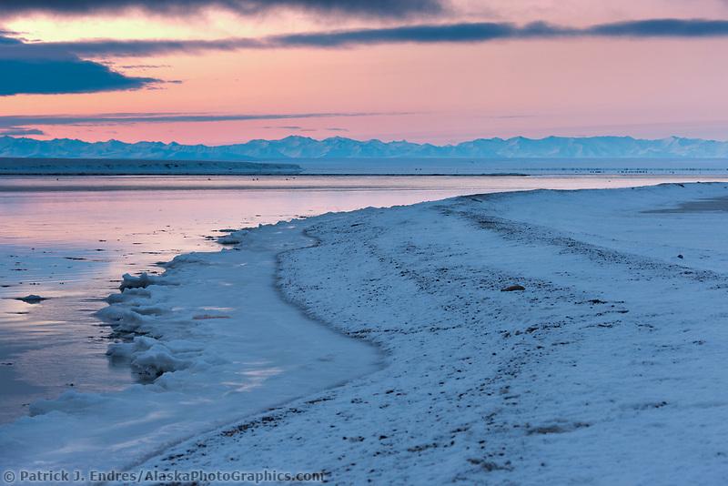 Sunrise on the Brooks Range mountains and the Beaufort Sea, Barter Island, Alaska.