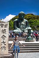Japanese tourist at Kamakura Big Buddha