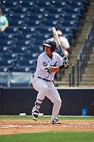 Tampa Tarpons Oswaldo Cabrera (3) at bat during a Florida State League game against the Lakeland Flying Tigers on April 7, 2019 at George M. Steinbrenner Field in Tampa, Florida.  Tampa defeated Lakeland 3-2.  (Mike Janes/Four Seam Images)