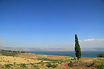 Israel, a view of the Mount of Beatitudes and the Sea of Galilee