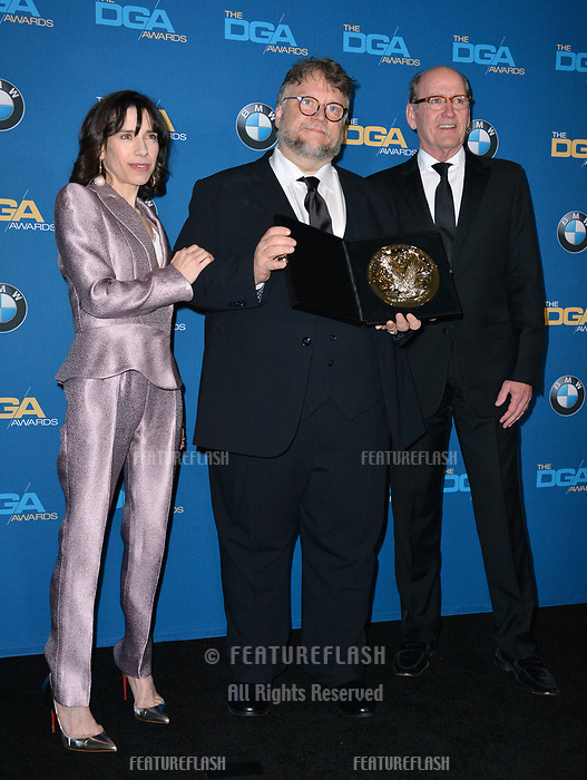 Sally Hawkins, Guillermo Del Toro &amp; Richard Jenkins at the 70th Annual Directors Guild Awards at the Beverly Hilton Hotel, Beverly Hills, USA 03 Feb. 2018<br /> Picture: Paul Smith/Featureflash/SilverHub 0208 004 5359 sales@silverhubmedia.com