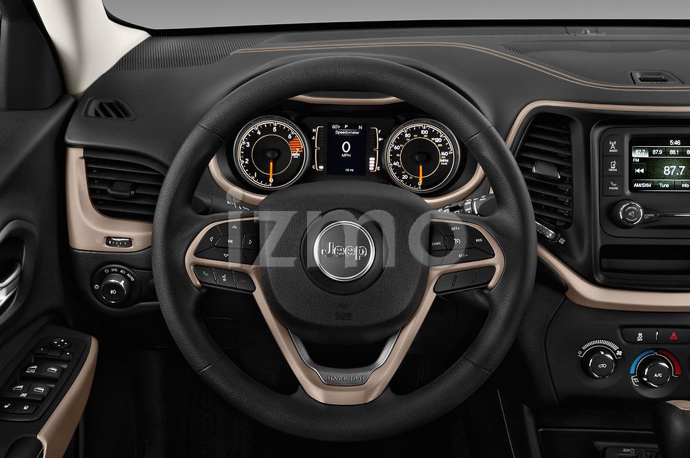 Car pictures of steering wheel view of a 2018 Jeep Cherokee Latitude 5 Door SUV
