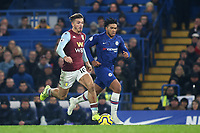 Jack Grealish of Aston Villa races upfield as Chelsea's Reece James looks on during Chelsea vs Aston Villa, Premier League Football at Stamford Bridge on 4th December 2019