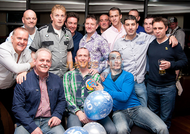 Ollie McHugh with his friends at his 40th in Bru..Picture: Shane Maguire / www.newsfile.ie.