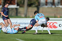Robbie Fergusson of London Scottish scores a try under pressure from Piers O'Conor of Bedford Blues during the Greene King IPA Championship match between London Scottish Football Club and Bedford Blues at Richmond Athletic Ground, Richmond, United Kingdom on 25 March 2017. Photo by David Horn / PRiME Media Images.