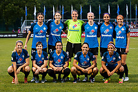 Kansas City, MO - Saturday July 22, 2017: Nicole Barnhart, Becca Moros, Yael Averbuch, Becky Sauerbrunn, Brittany Taylor, Desiree Scott, Christina Gibbons, Lo'eau Labonta, Shea Groom, Katie Bowen, Sydney Leroux during a regular season National Women's Soccer League (NWSL) match between FC Kansas City and the North Carolina Courage at Children's Mercy Victory Field.
