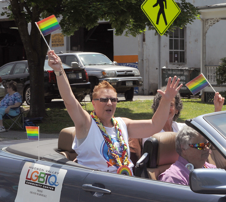 Parade Grand Marshall, Retts Scauzillo, Catskill, seen at the Hudson Valley LGBTQ's  Annual Gay Pride Parade, held in New Paltz, NY, on Sunday June 7, 2015. Photo by Jim Peppler. Copyright Jim Peppler 2015.