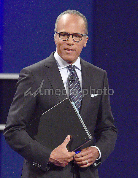 NBC Nightly News anchor Lester Holt addresses the audience prior to former United States Secretary of State Hillary Clinton, the Democratic Party nominee for President of the US and businessman Donald J. Trump, the Republican Party nominee for President of the US, appearing in the first of three presidential general election debates at Hofstra University in Hempstead, New York on Monday, September 26, 2016. Photo Credit: Ron Sachs/CNP/AdMedia