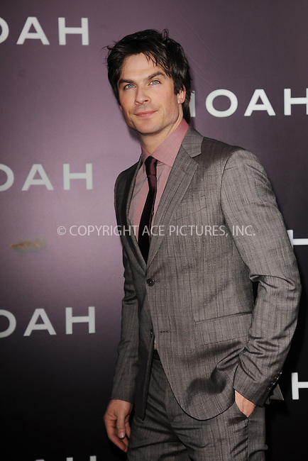 WWW.ACEPIXS.COM<br /> March 26, 2014 New York City<br /> <br /> Ian Somerhalder attending the 'Noah' New York premiere at Ziegfeld Theatre on March 26, 2014 in New York City.<br /> <br /> Please byline: Kristin Callahan<br /> <br /> ACEPIXS.COM<br /> <br /> Tel: (212) 243 8787 or (646) 769 0430<br /> e-mail: info@acepixs.com<br /> web: http://www.acepixs.com