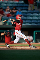 Altoona Curve right fielder Jordan George (24) follows through on a swing during a game against the Richmond Flying Squirrels on May 15, 2018 at Peoples Natural Gas Field in Altoona, Pennsylvania.  Altoona defeated Richmond 5-1.  (Mike Janes/Four Seam Images)