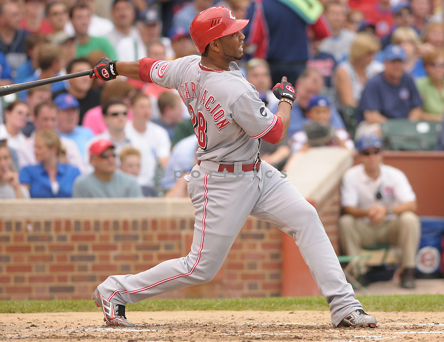 EDWIN ENCARNACION, of the Cincinnati Reds , in action during the  Reds  game against the Chicago Cubs in Chicago, IL on July 10, 2008.   ..Reds win 12-7