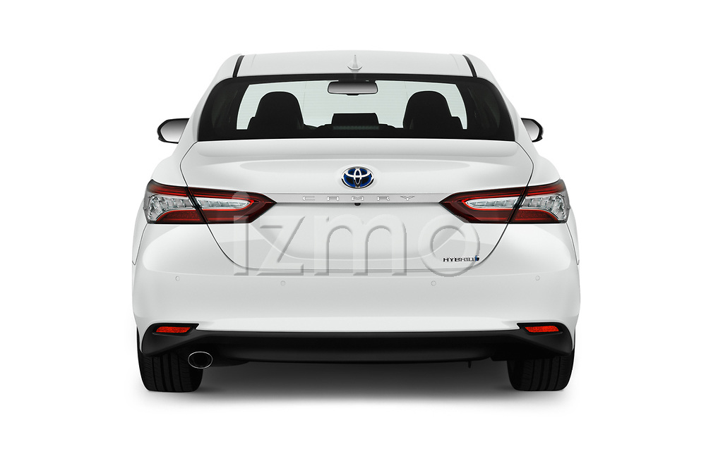 Straight rear view of a 2019 Toyota Camry Premium 4 Door Sedan stock images