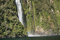 Stirling Falls in Milford Sound, Fiordland National Park, Southland, World Heritage Area, South Island, New Zealand