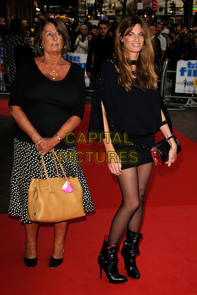 """LADY ANNABEL GOLDSMITH & JEMIMA KHAN.""""The Firm"""" UK Premiere, Vue West End cinema, Leicester Square, London, England..September 10th, 2009.full length black dress top skirt white polka dot ankle boots beige bag purse belt mother mom mum daughter family .CAP/CAN.©Can Nguyen/Capital Pictures."""