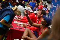 Washington, DC - July 25, 2018:  Venus Williams of the Washington Kastles autographs a fan's hat after Kastles defeat the San Diego Aviators July 25, 2018, in Washington, D.C.  (Photo by Don Baxter/Media Images International)