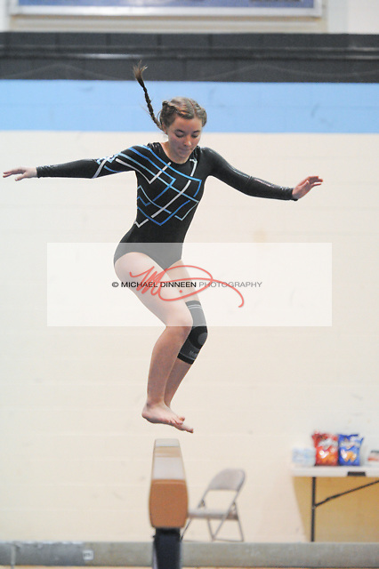 Kathleen Sorenson performs on the balance beam during Thursday's meet.  Photo for the Star by MIchael Dinneen