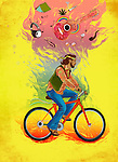 Illustrative image of hippy man riding bicycle