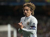 Real Madrid's Croatian midfielder Luca Modric during the UEFA Champions League match between Real Madrid and Borussia Dortmund at the Santiago Bernabeu Stadium in Madrid, Tuesday, December 7, 2016.