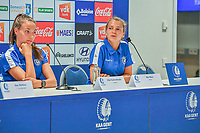 20200824 , GENT , BELGIUM : Gent's defender Silke Vanwynsberghe (21) and Gent's goalkeeper Riet Maes (25) pictured during a players presentation of K.A.A. Gent ladies before the 2020 - 2021 season of Belgian Women's SuperLeague , Monday 24 th of August 2020 in Gent , Belgium . PHOTO SPORTPIX.BE | STIJN AUDOOREN