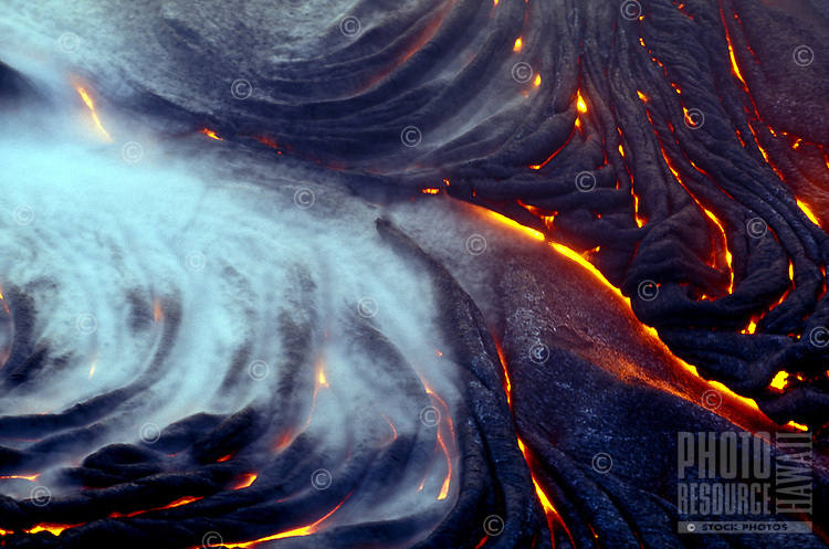 Close up of pahoehoe lava flow in the evening, Hawaii Volcanoes National Park