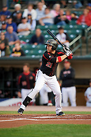 Rochester Red Wings left fielder J.B. Shuck (21) at bat during a game against the Buffalo Bisons on August 25, 2017 at Frontier Field in Rochester, New York.  Buffalo defeated Rochester 2-1 in eleven innings.  (Mike Janes/Four Seam Images)